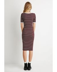 Forever 21 | Purple Ribbed Stripe Bodycon Dress | Lyst