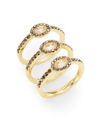 Saks Fifth Avenue | Metallic Classic Oval Stacking Ring Set | Lyst