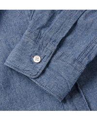 Aspesi | Blue Cotton Grandad-Collar Shirt for Men | Lyst