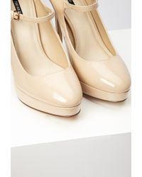 Forever 21 | Natural Faux Patent Mary Jane Platform Pumps | Lyst