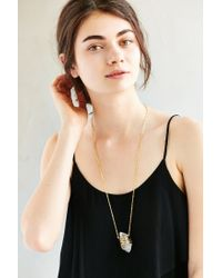 Urban Outfitters - Metallic Geo Wrapped Crystal Pendant Necklace - Lyst