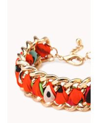 Forever 21 | Orange Woven Chain Bracelet | Lyst