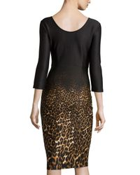 Neiman Marcus - Brown 3/4-sleeve Leopard-print Dress - Lyst