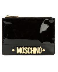 Moschino - Black Logo Plaque Clutch - Lyst
