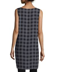 Eileen Fisher - Blue Sleeveless Buffalo Check Silk Tunic - Lyst