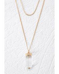 Forever 21 | Metallic Faux Crystal Pendant Necklace Set | Lyst