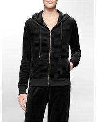 Calvin Klein - Black Textured Stripe Velour Hooded Jacket - Lyst