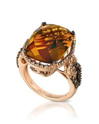 Le Vian | Orange 14kt Rose Gold Quartz And Diamond Ring | Lyst