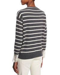 Brunello Cucinelli - Gray Striped 2-ply Cashmere Sweater With Lace - Lyst