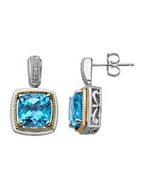 Lord & Taylor | Sterling Silver And 14 Kt. Yellow Gold Blue Topaz Earrings With Diamonds | Lyst
