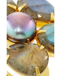 Bounkit | Metallic Grey Pearl And Labradorite Ring | Lyst