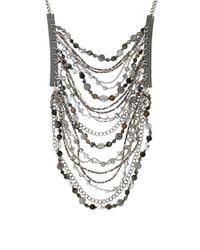 Chan Luu | Gray Multi Stone And Chain Bib Necklace | Lyst