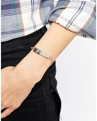 ASOS - Metallic Rectangle Bead Metal Bracelet - Lyst