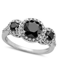Arabella | Metallic Black (2-7/8 Ct. T.w.) And White (3/4 Ct. T.w.) Swarovski Zirconia 3-stone Ring | Lyst
