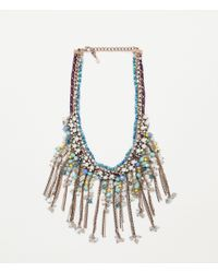 Zara | Green Stones And Pearls Necklace | Lyst