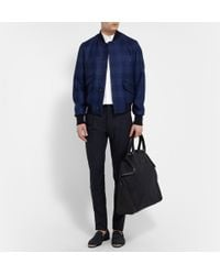 Alexander McQueen | Blue De Manta Leather-Trimmed Woven Tote for Men | Lyst