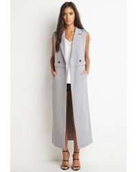 Forever 21 - Gray Double-breasted Longline Vest - Lyst