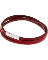 Tateossian | Leather Double Wrap Bracelet, Men's, Size: L, Red for Men | Lyst