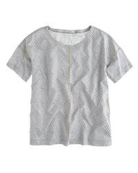J.Crew - Gray Embroidered Herringbone T-shirt - Lyst