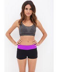 Forever 21 | Purple Side Pocket Skinny Workout Shorts | Lyst