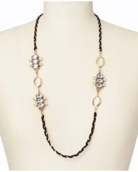 Ann Taylor - Black Crystal Braided Long Ribbon Necklace - Lyst
