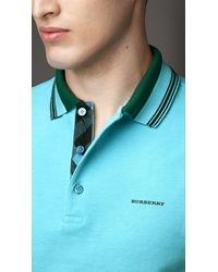 Burberry - Green Striped Collar Polo Shirt for Men - Lyst
