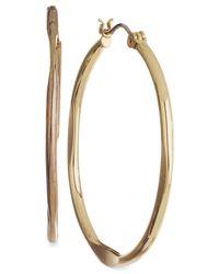Nine West | Metallic Gold-tone Medium Hoop Earrings | Lyst