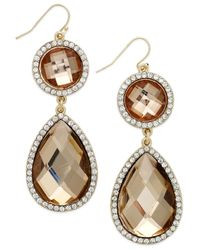INC International Concepts - Metallic Gold-tone Crystal Natural Teardrop Earrings - Lyst