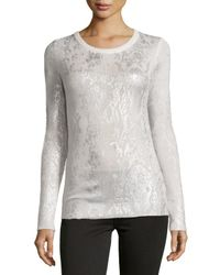 Philosophy Cashmere - Metallic Cashmere Pullover Sweater W/ Foil Snake Print - Lyst