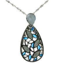 Indulgence Jewellery - Rhodium Transparent Blue Pendant - Lyst