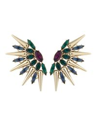 Anton Heunis - Metallic Gold Plated Amethyst And Swarovski Crystal Earrings - Lyst