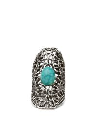 Forever 21 - Metallic Cutout Faux Turquoise Ring - Lyst