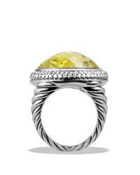 David Yurman   Metallic Dy Signature Oval Ring With Lemon Citrine & Diamonds   Lyst