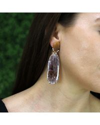 Federica Rettore - Red Harlequin Opal And Cacoxenite Earrings - Lyst