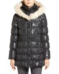 Via Spiga | Black Hooded Down & Feather Fill Coat With Faux Fur Trim | Lyst