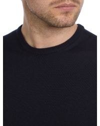 Armani | Blue Plain Crew Neck Pull Over Jumpers for Men | Lyst