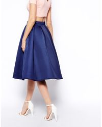 ASOS - Red Premium Prom Midi Skirt In Bonded Crepe - Lyst