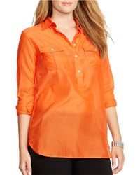 Lauren by Ralph Lauren | Orange Plus Cotton Silk Tunic | Lyst