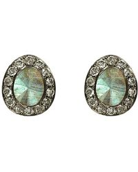 Annoushka | Gray Dusty 18ct White-gold, Labradorite And Diamond Stud Earrings | Lyst
