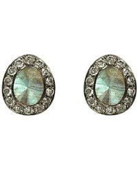 Annoushka - Gray Dusty 18ct White-gold, Labradorite And Diamond Stud Earrings - Lyst