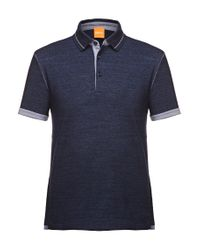 BOSS Orange | Blue 'patcherman' | Slim Fit, Mixed Melange Polo Shirt for Men | Lyst