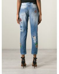 Marco Bologna - Blue Embroidered Distressed Jeans - Lyst