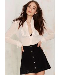 Nasty Gal | Natural Viola Ruffle Blouse | Lyst