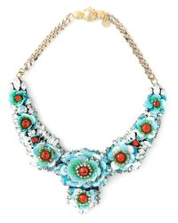 Shourouk | Blue 'apolonia Flower' Necklace | Lyst