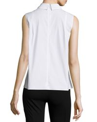 Peter Pilotto - White Sleeveless Embroidered-yoke Blouse - Lyst