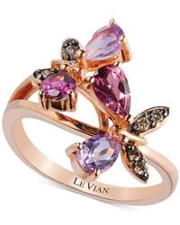 Le Vian - Pink Multi-Stone And Diamond Accent Butterfly Ring In 14K Rose Gold (1-1/6 Ct. T.W.) - Lyst