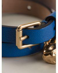 Alexander McQueen - Blue Skull Wrap Around Bracelet - Lyst