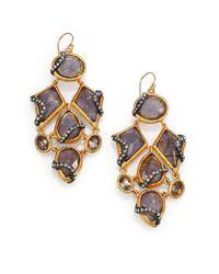 Alexis Bittar - Metallic Elements Dark Phoenix Labradorite & Crystal Chandelier Earrings - Lyst