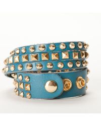 Linea Pelle | Blue Double Wrap Mixed Studded Bracelet | Lyst
