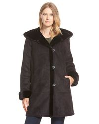 Gallery Black Hooded Faux Shearling A-line Coat